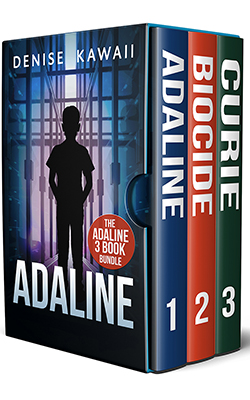 An image of three books. Adaline, Biocide and Curie. Front cover features a boy standing in a room of machine servers.