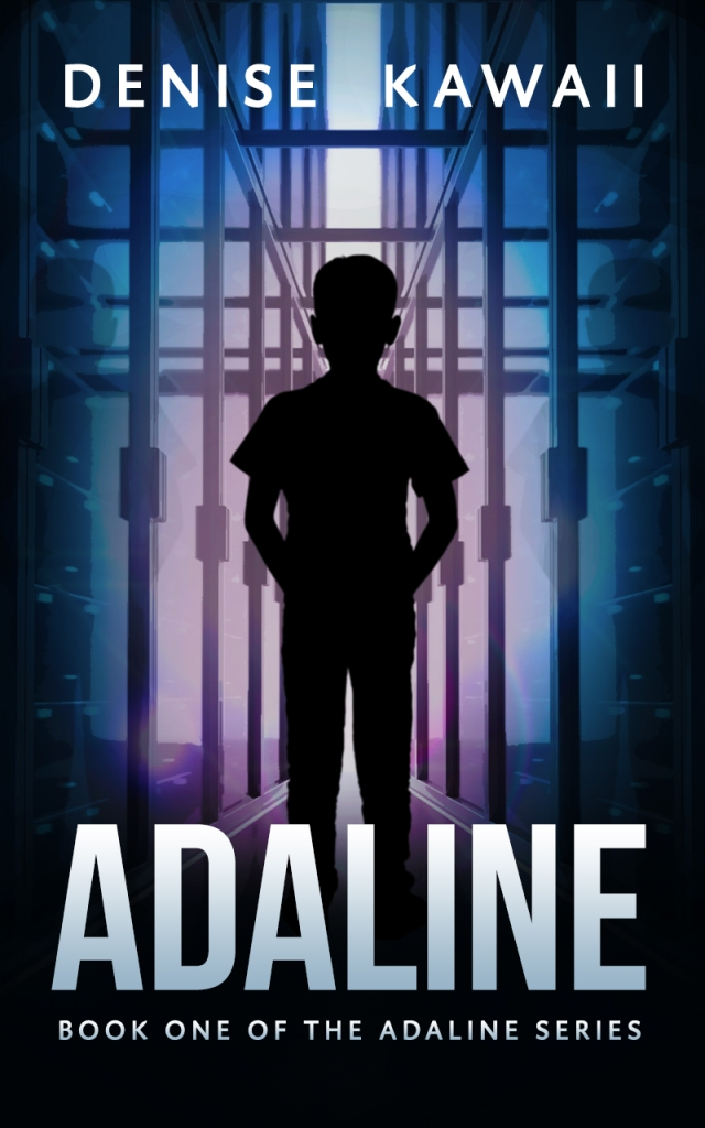 Ebook cover of Adaline, book one of the Adaline series. A boy stands in a narrow hallway between computer servers.
