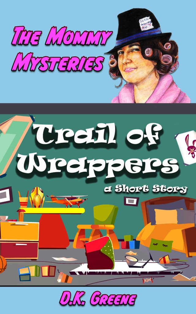 E-book cover for Trail of Wrappers: A Short Story. A messy child's bedroom with a female detective in curlers.