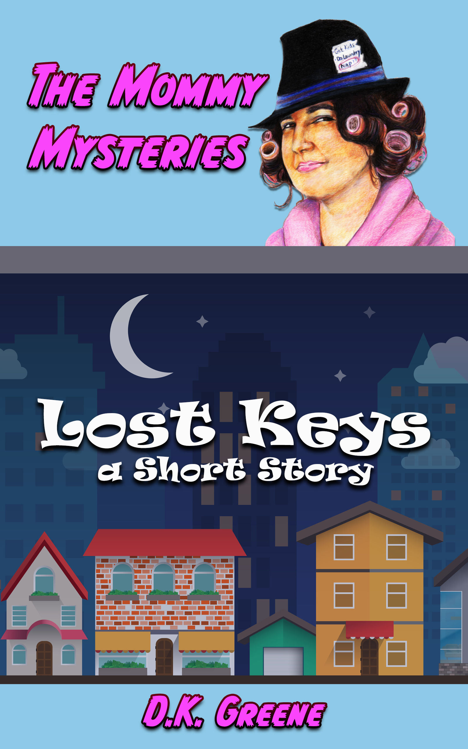 E-book cover for Lost Keys: A Short Story. A quiet neighborhood at night with a female detective in curlers.