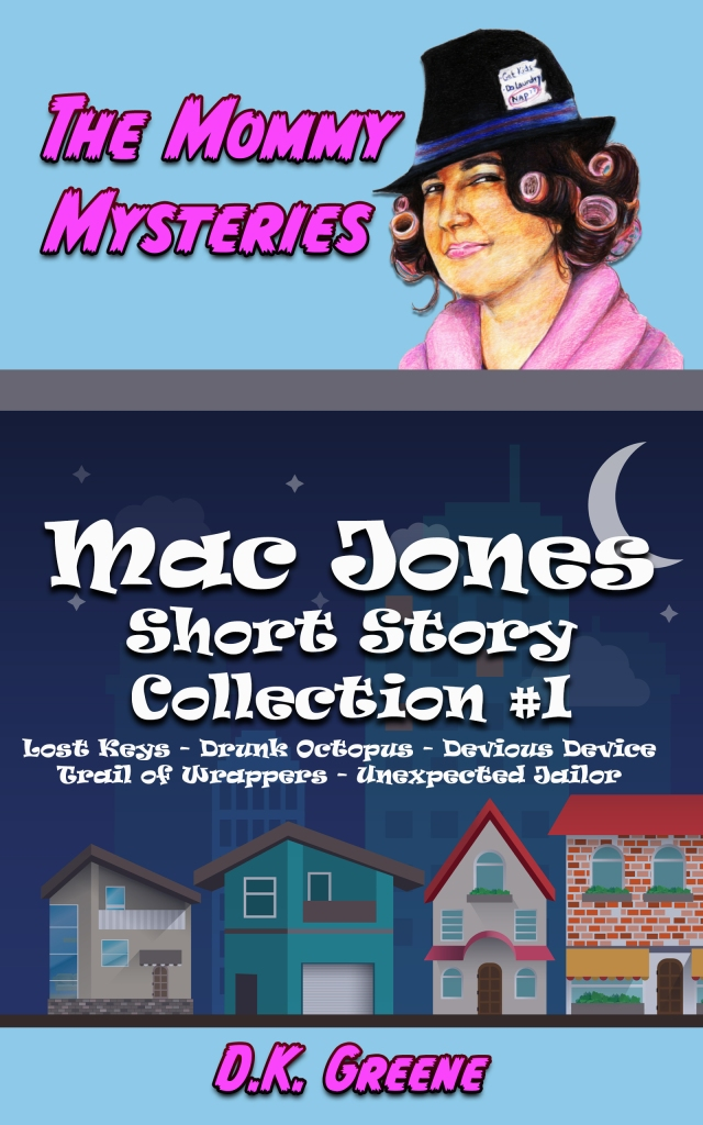 Ebook cover for Mac Jones short story collection #1. A dark neighborhood with a female detective in curlers.